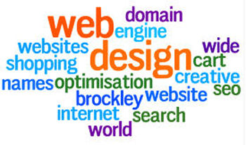 Word cloud: Brockley designs creative websites that work for you - SEO, search engine optimisation, shopping cart, world wide web, domain names, internet